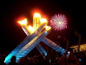 Feuer und Feuerwerk am Canada Day